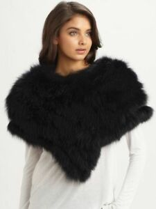 NWT GUCCI Fox Fur Othis Capelet Cape Jacket Coat Poncho Wrap NWT Black Gorsuch