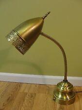 VINTAGE MID CENTURY MODERN BRASS  DESK TABLE LAMP GOOSENECK ORNATE FLEX ARM