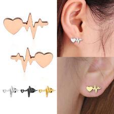 Lovely Heart Electrocardiogram Heart Beat Ear Stud Earring Doctor Nurse Jewelry