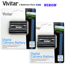 2x Vivitar EN-EL15 HIGH CAPACITY 2500MH BATTERY FOR NIKON D7200 D7100 D610 D500