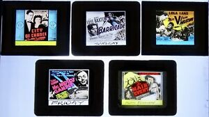 Five Glass Movie Slides -  One with Peter Lorre as Mr. Moto