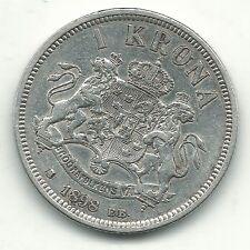 A HIGH GRADE XF DETAILS 1898 E B SWEDEN SILVER 1 KRONE COIN-NOV514