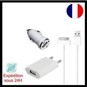3en1 Chargeur secteur Chargeur Auto et cable USB pour iPhone 3 /3G /4 /4S,iPod