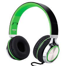 RockPapa Foldable DJ Headphones Mic for Computer Kindle iPhone iPad Black Green