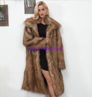 Womens Lapel faux Mink Fur Fox Fur Coat Jacket Trench Plus Long Parka Outwear Sz