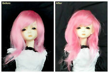 "1/3 8-9"" BJD SD DZ DOD LUTS Recurlable Doll Wig Pink Straight w/ Bangs (Virgo)"
