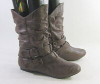 NEW LADIES Dark Brown Round Toe Sexy Ankle Boot Side Buckle Us Womens Size 8.5