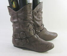 Dark Brown Round Toe Sexy Ankle Boot Side Buckle Us Womens Size 8