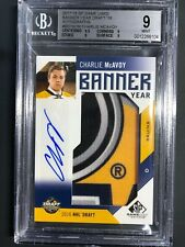 2017-18 SP Game Used Charlie McAvoy Banner Year Rookie /15 BGS 9 10 Auto