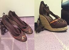 """""""BCBGirls"""" Brown Lace Up Wedges"""