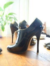 """very rare 1950s bettie page fetish heels hand made black patent oxford 6"""" heels"""