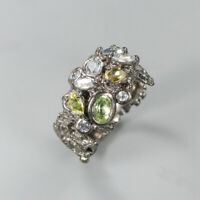 Peridot Ring 925 Sterling Silver Size 7.5 /RT19-0065