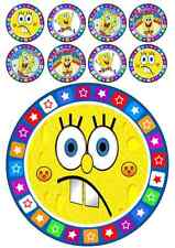 SPONGEBOB SQUAREPANTS CAKE TOPPER 7 INCH ROUND INCLUDES 32 CUPCAKE TOPPERS!!