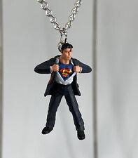 "DC Comics Superman Clark Kent Mini Figurine Necklace Charm Jewelry 20"" Chain"