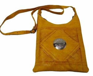 Genuine Leather Handbag Purse Moroccan Women Shoulder Bag Tooled Leather Yellow
