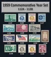 US #1124-1138 = 1959 Commemorative Year Set = 15 Stamps MNH
