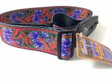 LOCK-IT Guitar Strap  Bob Masse Series - Purple Flowers Patented Strap Locking