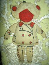 Antique brown felt cloth doll purse, handkerchief accessory novelty or pen wipe