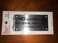 """NO ADVERTISING MATERIAL' Brass Sign - screw fixing (Free Shipping)"