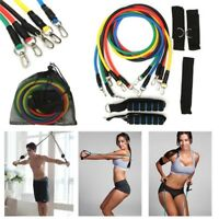 11Pcs Set Resistance Bands Yoga Pilates Gym Exercise Fitness Tube Workout Bands
