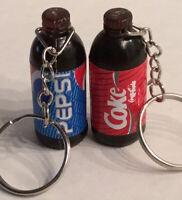 Coca-Cola Pepsi Keychain Collectible Liter Bottles (2)