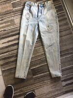 Vintage 80s 90s Acid Wash Denim High Waist Dakota Blue Zipper Skinny Mom Jeans