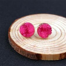 Women Unique Natural Stone Durzy Amethyst Crystal Quartz Ear Stud Earrings 1pair Rose Red