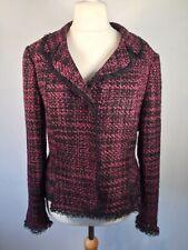 Woman's jacket size 12 Nipon Boutique Pink Black Wool Mix. Lined. Stylish.