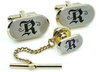 Hickok Vintage Cufflinks Set Letter R Initial Cuff Links with Tie Pin Tack