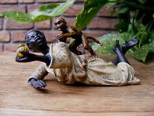 Bronzeskulptur ~ Negerjunge liegend mit Affe ~ WIENER BRONZE