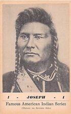 Native Americana postcard Joseph Nez Perces Famous American Indian Series