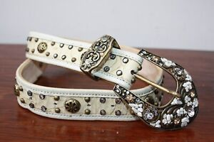 Y2K Vintage Leatherock Embellished Western Style Statement Belt, XS (17 -24 in)