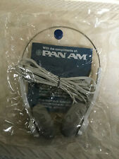 VINTAGE PAN AM AIRLINES HEADPHONES IN  ORIGINAL PLASTIC BAG - UNUSED