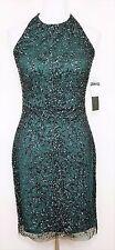 New AIDAN MATTOX Hunter Green Halter Beaded Cocktail Dress - Knee Length - SZ 6