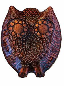 Metallic Painted Glass Owl Decorative Dish Burnt Orange/Cooper