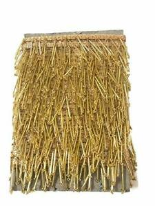 Golden Piping Border Lace Tassels/Latkan Hanging for Dresses, Crafts By The Yard