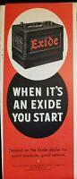 Vintage 1946 Exide Battery Print Ad Ephemera Art Decor