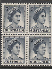 Stamps Australia 5d blue QE2 definitive coil perforation block of 4, MUH