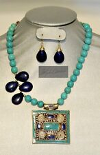 Antique Style Large Nepal Brass Lapis & Turquoise Pendant Necklace & Earring Set