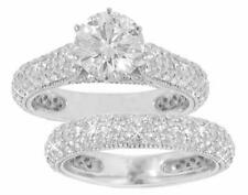 3.50 Ct. TW Round Cut Diamond Engagement Ring with Wedding Band 14 kt White Gold