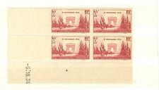 TIMBRES FRANCE BLOC DE 4 COINS DATE YVERT N° 403 ARMISTICE 1938