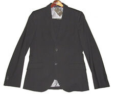 Armani Exchange A/X Mens Solid Black Slim Fit European Fabric Wool Suit 40L 34