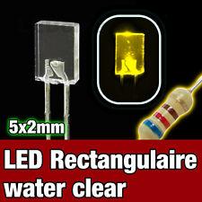 324J/10# LED Rectangulaire 5x2 mm  Jaune 10pcs  - Yellow Rectangular LED