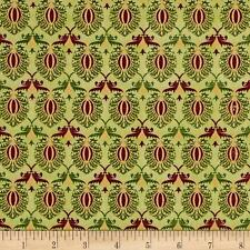 Tis The Season Damask Green Christmas 100% cotton fabric by the yard