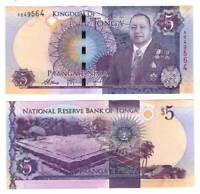 TONGA 5 Pa'anga ND (2015) P-45 A Prefix Paper Money UNC