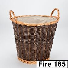 INGLENOOK FIRESIDE FIRE WOOD LOG TWO TONE CARRY WICKER STORAGE BASKET WITH LINER