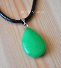 Natural Green Jade Teardrop Necklace Pendant Reiki Healing Ladies Gift Crystal