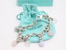 Tiffany & Co Sterling Silver Fascination Multi Gemstone Dangle Charm Bracelet