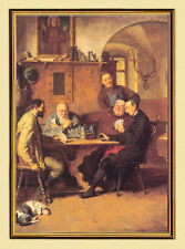 E.T. Knight Grützner Card Player UM 1883 Monk on Canvas 3 in Gold Frame
