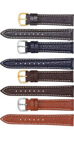 New Men's Padded Calf Leather w/Heavy Creme Stitching Watch Strap Band